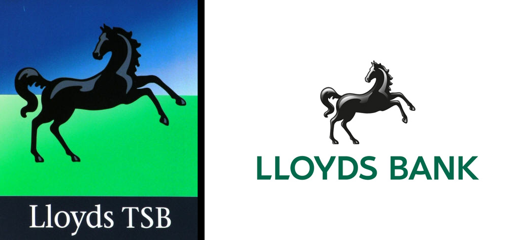 Lloyds' logo before (left) and after (right)